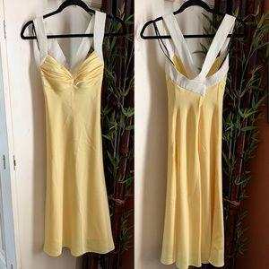 Calvin Klein Yellow and white formal dress